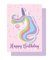 feliz aniversário com cartão arco-íris vetor