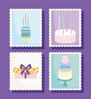 conjunto de selo de feliz aniversário vetor