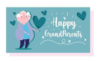 velho avô com cartão de desenho animado de amor de corações vetor