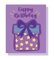 cartão de decoração de celebração de caixa de presente estrelado vetor