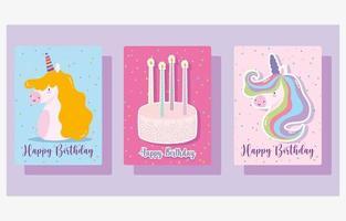 conjunto de cartão de feliz aniversário bolo e velas vetor