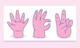 conjunto de diferentes gestos de mãos humanas vetor