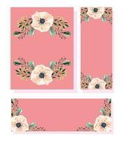 conjunto de cartão em aquarela floral