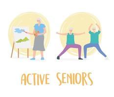 idosos em atividade, idosos praticando exercícios e hobby