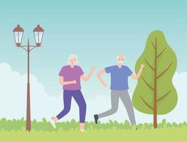 casal mais velho correndo no parque