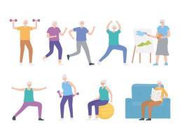 pessoas idosas praticando esportes e atividades de hobby