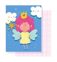cartão da pequena fada princesa vetor