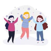 amigos felizes do dia da juventude comemorando vetor