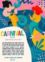 modelo de pôster de carnaval com mulheres comemorando vetor