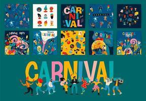 conjunto de designs de cartazes quadrados de carnaval vetor