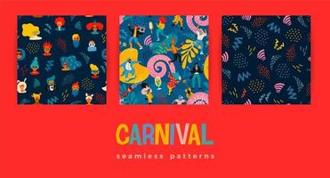 conjunto de padrões sem emenda de carnaval vetor