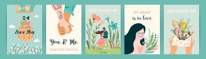 conjunto de designs românticos para cartões de dia dos namorados vetor