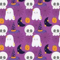 caveira de halloween, abóbora, chapéu, lua, padrão de fantasma