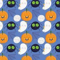 aranha de halloween, abóbora, lua, teia, padrão de fantasma