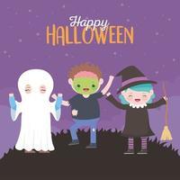 feliz dia das bruxas, cartão com crianças no figurino