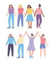 pessoas juntas, agrupar personagens de desenhos animados de mulheres jovens vetor