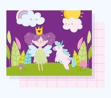 pequena fada princesa com modelo de cartão unicórnio vetor