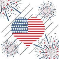 Bandeira de coração com fogos de artifício para o dia da independência dos EUA vetor
