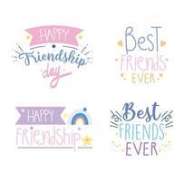 feliz dia da amizade conjunto de letras vetor