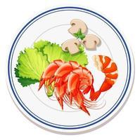 vista aérea de comida no prato vetor