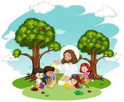 jesus pregando para um personagem de desenho animado de um grupo infantil vetor