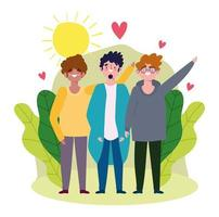 jovens celebrando o dia da amizade vetor
