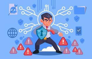 herói da segurança cibernética protegendo seus dados vetor