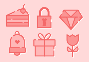 Elementos Dia minimalista Valentine livre de vetor