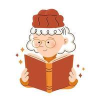 linda garota feliz de óculos lendo livro vetor