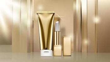 modelo de anúncio cosmético dourado vetor