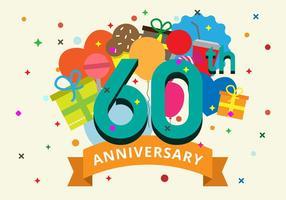 Aniversário de 60 anos Ilustração vetor