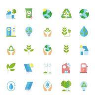 ecologia e coleta de ícones de reciclagem vetor