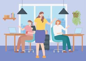 conceito de coworking com uma equipe de funcionárias vetor