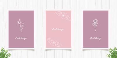 conjunto de cartões florais minimalistas vetor