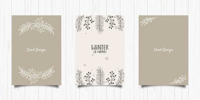 design de cartão postal em estilo minimalista de folhagem vetor