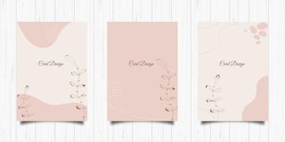 conjunto de cartões elegantes em tons pastel