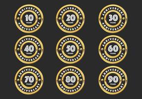 emblemas aniversário do ouro vetor