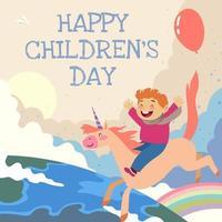 cartão de ilustração do dia das crianças vetor