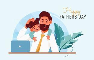 pai e filha no escritório vetor