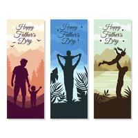 feliz dia dos pais silhueta de pai e filho ou filha vetor