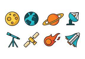 Ícones dos desenhos animados do espaço vetor