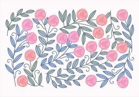 Rosas e folhas Vector