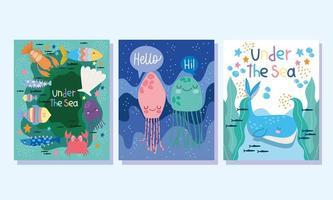 conjunto de cartazes sob o mar