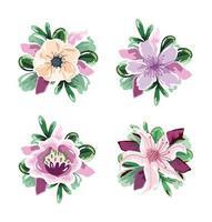 conjunto delicado de decoração de flores