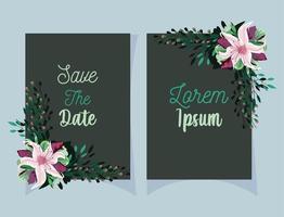 cartões de flores e folhas