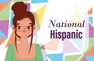 mês da herança hispânica nacional, desenho de mulher jovem