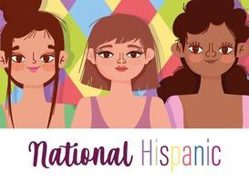 mês da herança hispânica nacional, desenho animado de mulheres jovens felizes