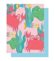 sob o padrão de caranguejo marinho, arraia, peixe, algas
