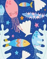 água-viva peixes estrela-do-mar folhas cena