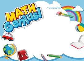 modelo de design de moldura matemática com itens escolares vetor